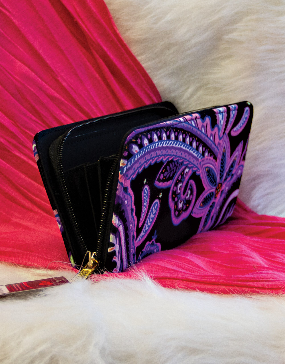 Purple Paisley Nupouch Wallet