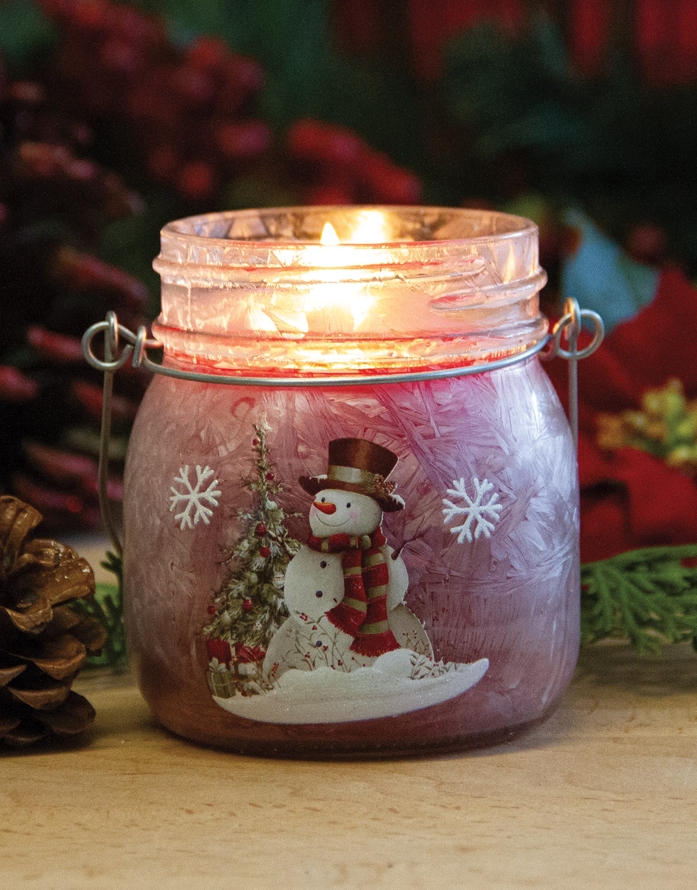 Frosted Snowman Set of 3 – Cranberry