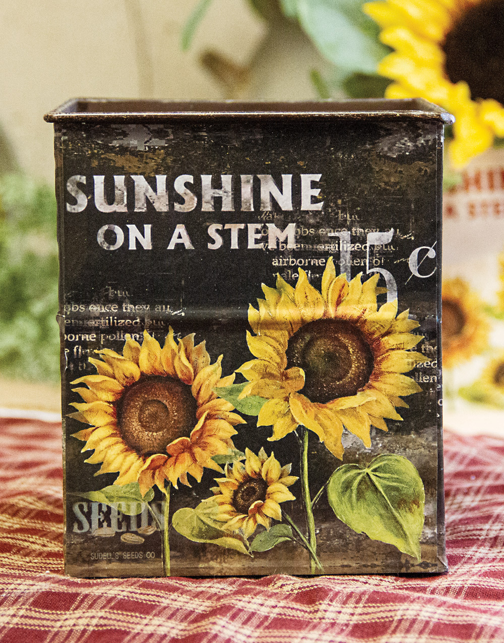 Rustic Sunflower Small Metal Container – Black