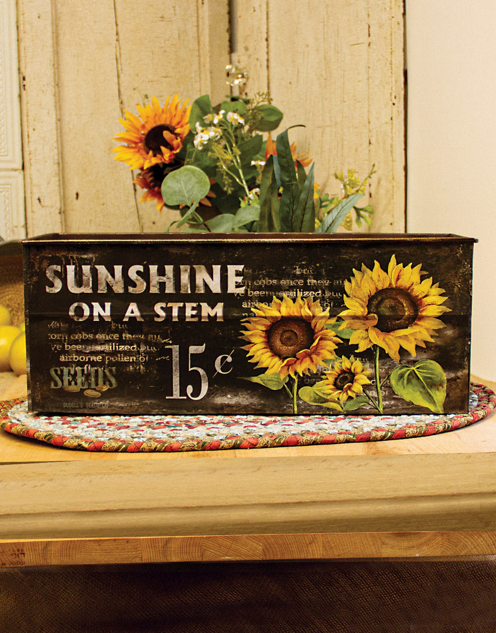 Rustic Sunflower Large Metal Container