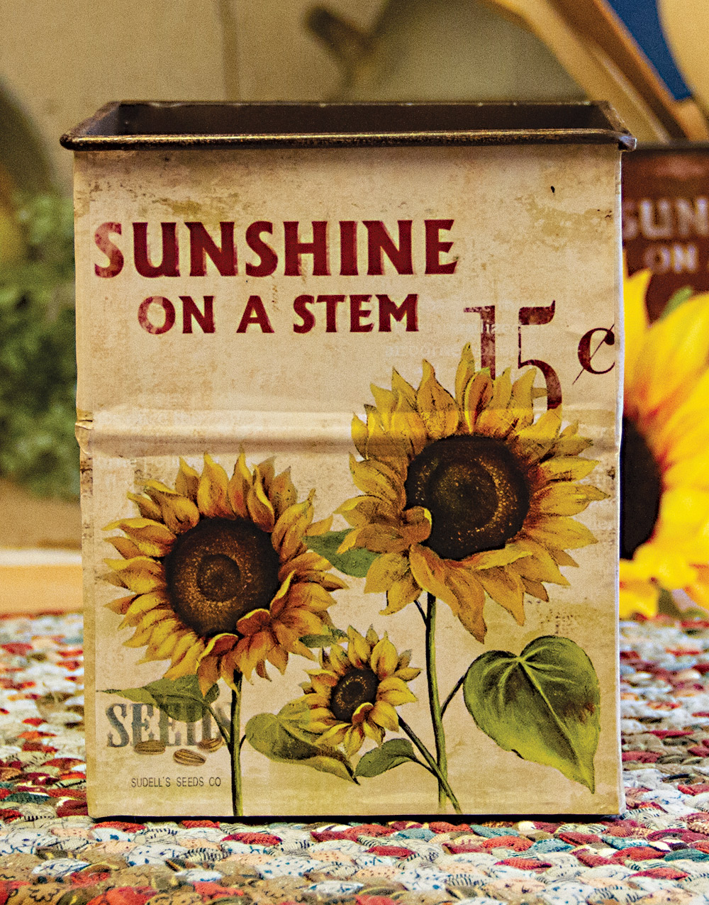Rustic Sunflower Small Metal Container – Cream