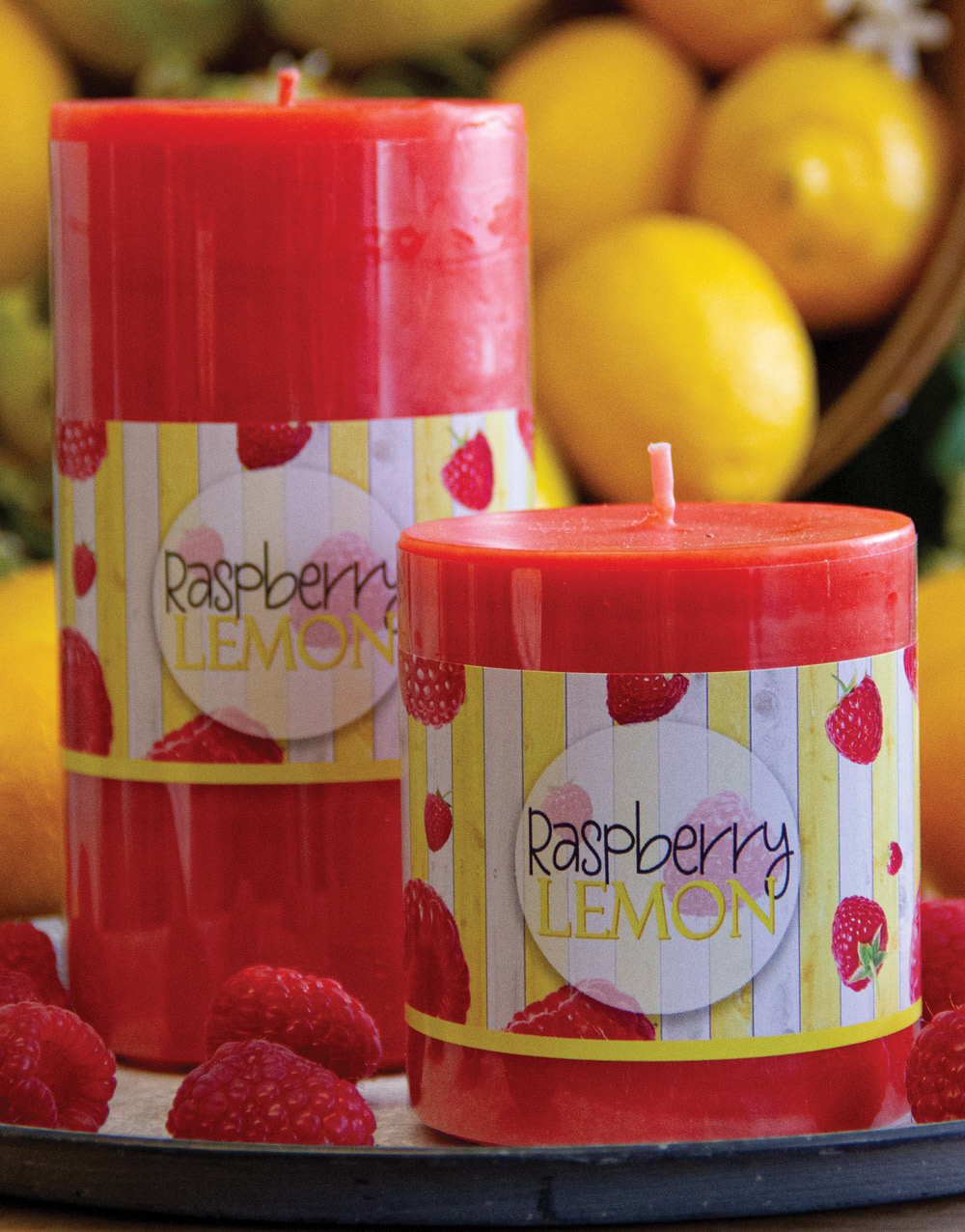 Aurora Pillar Candle – Raspberry Lemon