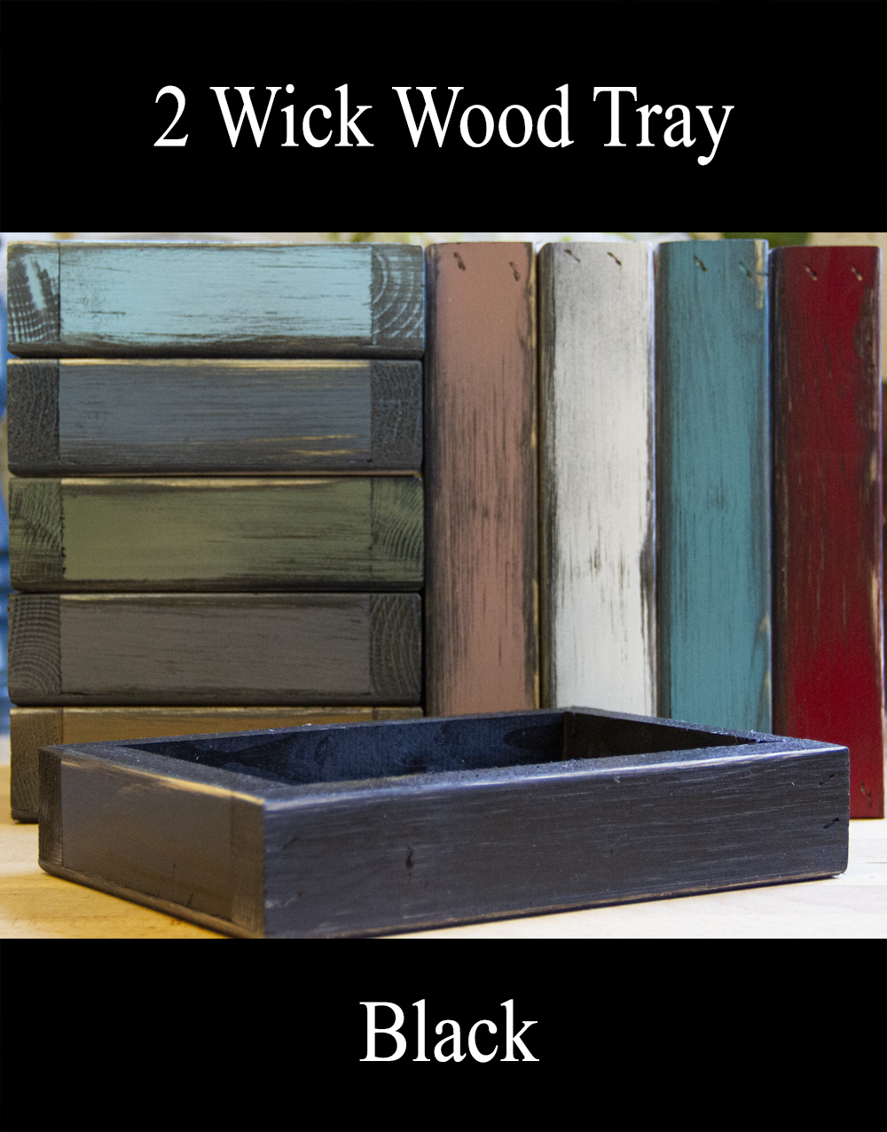 2 Wick Wood Tray – Assorted Colors
