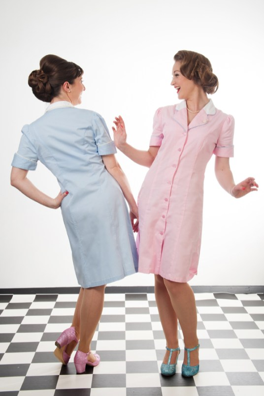 Pastel pink and blue Campbell Crafts diner dresses photographed in the studio by Anna Hindocha/Warm Glow Photo.