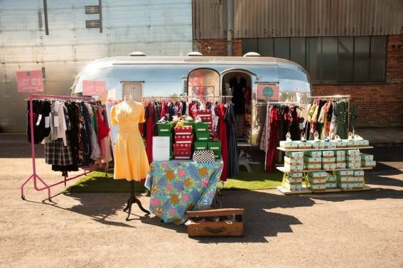 Bonnie the airstream at 1940s Relived event at Brooklands.