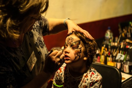 Young girl having her face painted at Big Fish Little Fish as part of the Mini Vault Festival, Waterloo. Photographed by Anna Hindocha/Warm Glow Photo