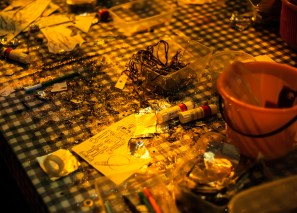 Craft materials at Big Fish Little Fish as part of the Mini Vault Festival, Waterloo. Photographed by Anna Hindocha/Warm Glow Photo