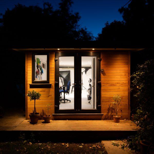 Garden studio at night