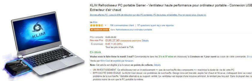KLIM Refroidisseur PC portable Gamer - Ventilateur haute performance pour ordinateur portable - Connexion USB - Extracteur d'air chaud