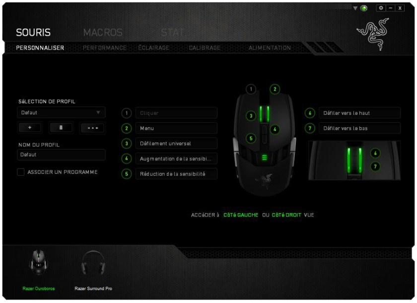 Interface de Razer Synapse 2.0 pour la souris Ouroboros