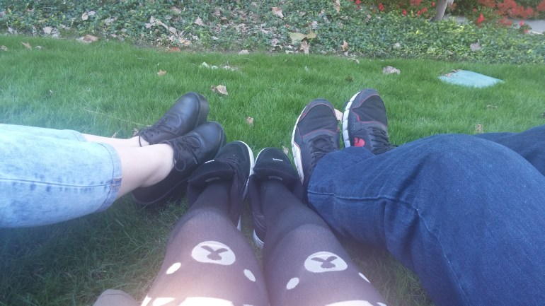 Friendship feet. We went to the arboretum and laid in the grass. Friends don't let friends roll on grass alone.