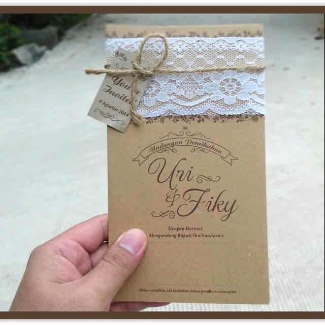 Contoh Undangan Pernikahan Rustic Kertas Kraft Jasa Cetak Undangan