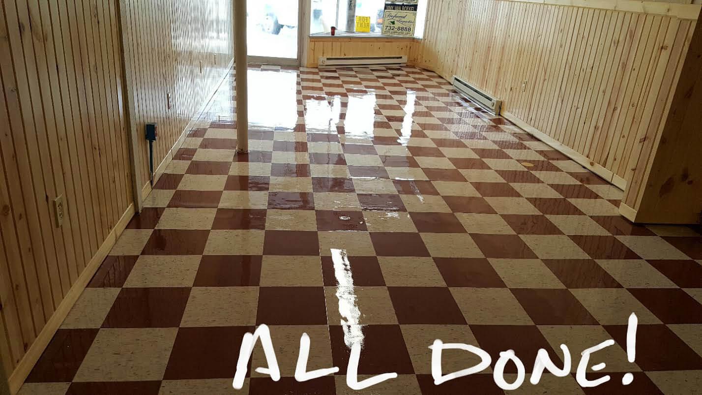 vinyl tile stripping refinishing
