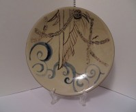 The finished decorated plate. Made in Koishiwara. (Glaze on ceramic plate, March 2011)