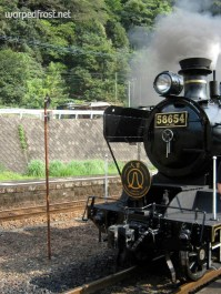 Steam Locomotive Hitoyoshi runs in the summers between Kumamoto Station and Hitoyoshi Station (August 2010)