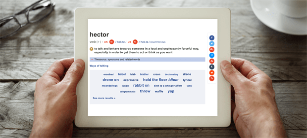Dictionary definition of hector
