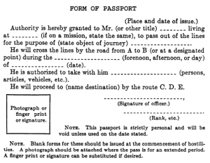 Sample form for internal passport for prisoners of war, Geneva Conventions, 1956