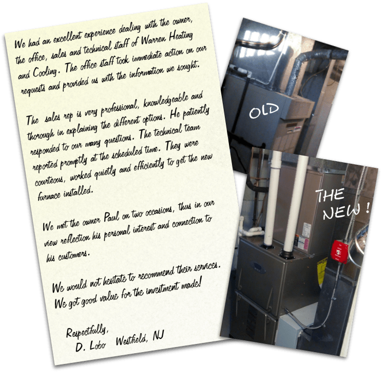 Customer testimonial letter and photo of old and new furnace.