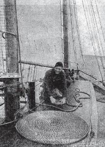Grainy newspaper photo of Warren William aboard a yacht