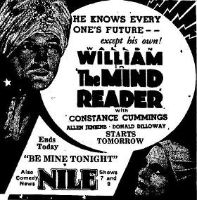 The Mind Reader ad, Bakersfield Californian, May 11, 1933