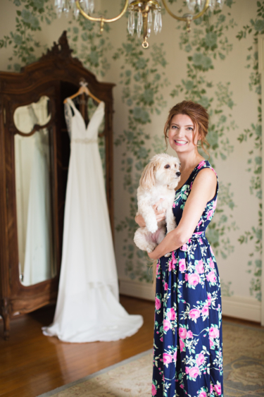 Kentucky estate wedding- Bride with her dog in bridal suite