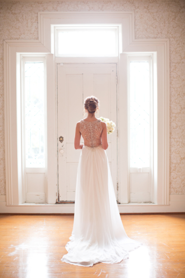 Kentucky estate wedding- Back of Bride in Gorgeous Gown