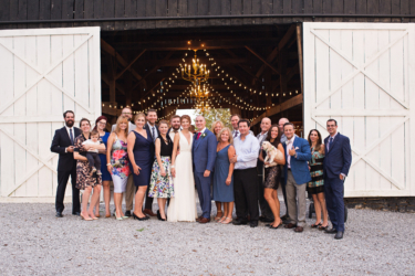 Kentucky summer wedding- rustic elegant barn wedding reception group picture