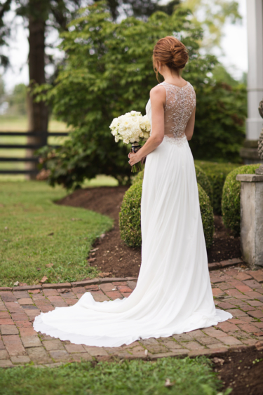 Kentucky estate wedding- Sleeveless bridal gown with beading