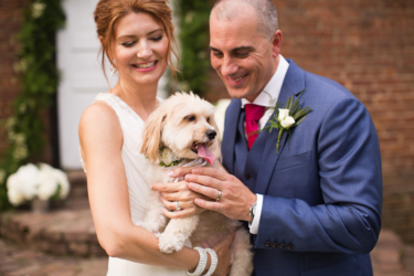 Kentucky summer estate wedding- Bride and Groom with dog
