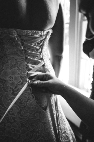 Wedding dress with lace up back