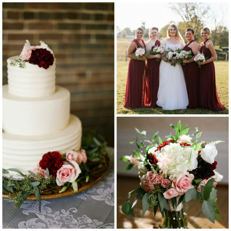 Event Styling: Fall barn wedding ceremony with merlot, pink and white details. Photographed by Daring Tales of Darling Bones