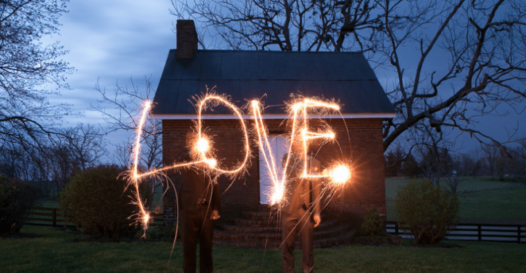 Sparkler photo with happy grooms, Photo by Love & Lenses Photography