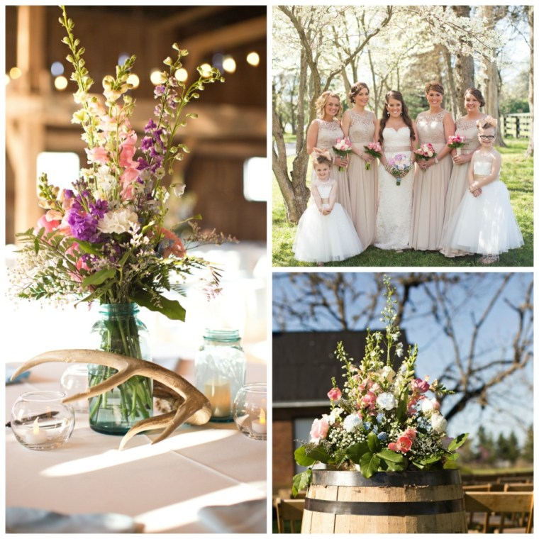 Event Styling: Spring barn wedding in ivory, blush and lavender. Photographed by Honey Heart Photography