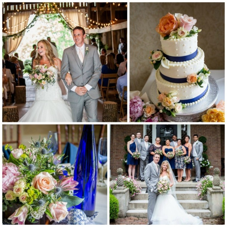 Event Styling: Summer barn wedding with cobalt blue, orange and pink accents. Photographed by Jessica Moore Photography