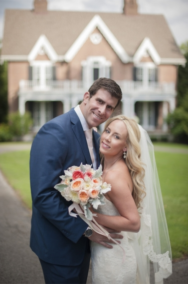 Couple's Portrait in front of Warrenwood Manor