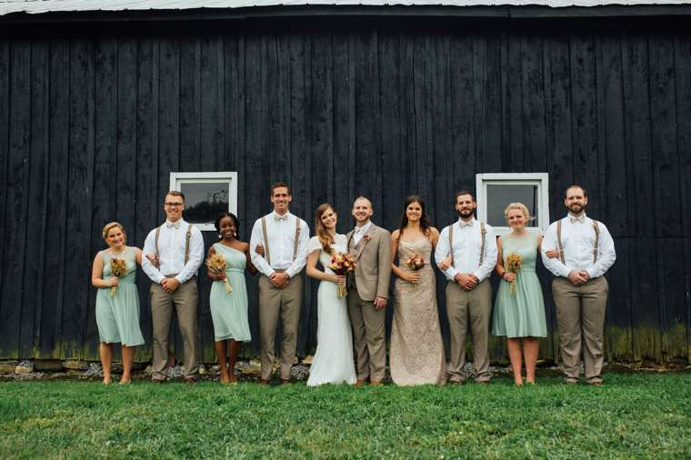 Wedding party dressed in light brown, mint, champagne and ivory