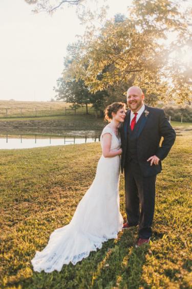 Bride and Groom at Kentucky farm wedding