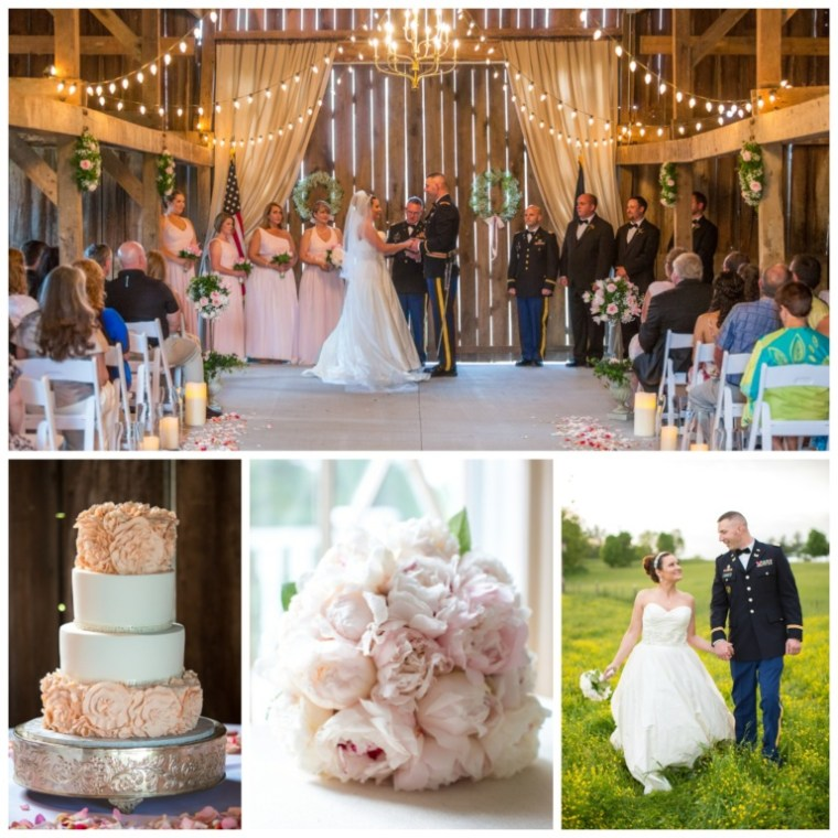 Event Styling: Spring barn wedding with pink accents and greenery. Photographed by Kevin & Anna Photography