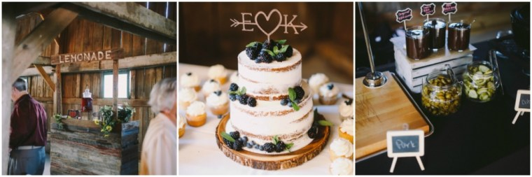 Kentucky Wedding Caterer for Barn Reception- Lemonade stand, naked cake and cupcakes