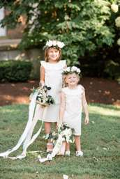Timeless Southern Flower Girls with floral crowns