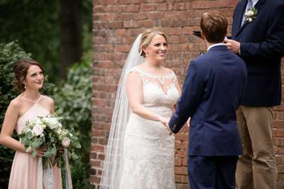 Timelessly Romantic Southern Wedding Ceremony of Navy, Blush and White