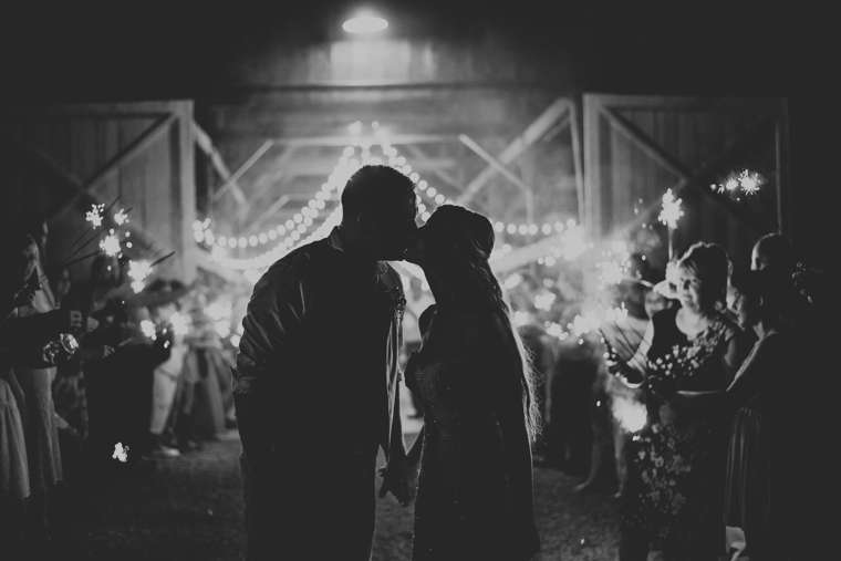 Sparkler sendoff from rustic country barn wedding at Warrenwood Manor