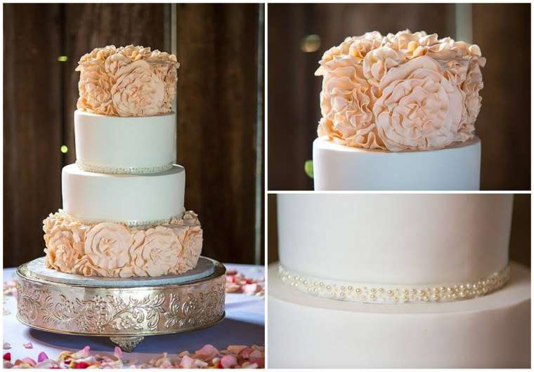 Blush and Ivory four-tier wedding cake with rosette texture on silver cake stand