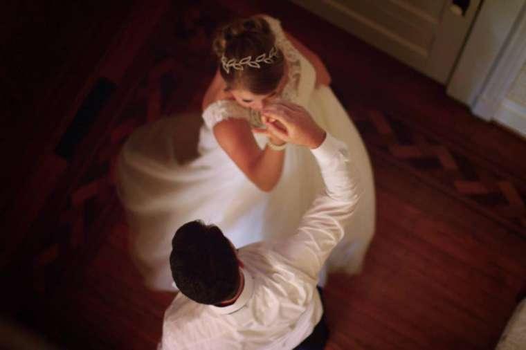 Bride and groom dancing in Warrenwood