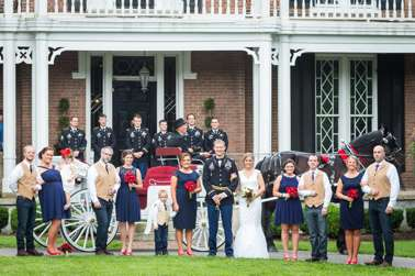 Wedding party with horse-drawn carriage