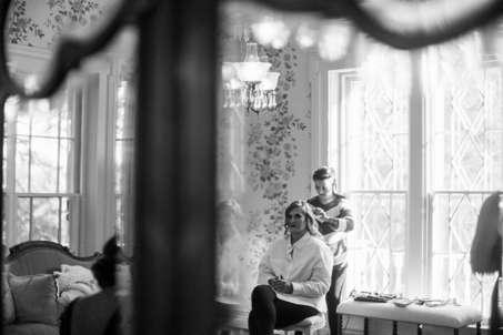 Bride getting ready in Warrenwood Manor