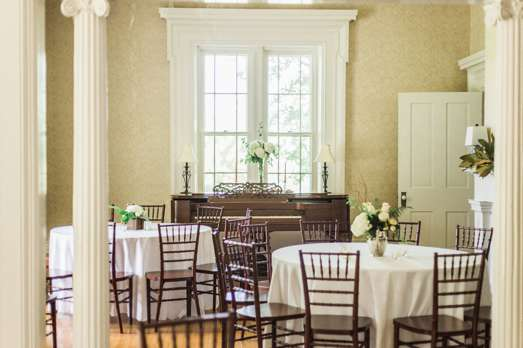 Ivory wedding reception in historic home