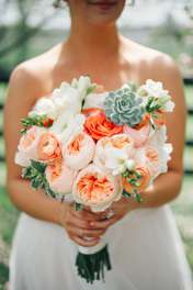Peach, pink and white bridal bouquet with succulent by Doug Smith Designs