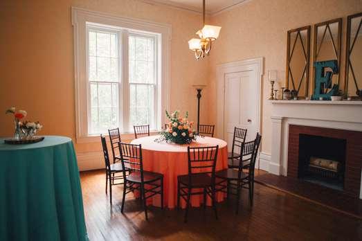 Spring wedding reception setup in Warrenwood Manor