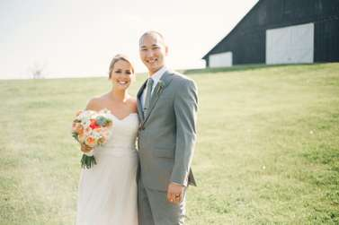 Bride & Groom at spring farm wedding in Kentucky
